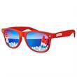 Retro Mirror Sunglasses w/ full-color imprints - Quality PC Retro sunglasses with mirror UV400 impact resistant PC lenses.