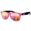 2-Tone Retro Mirror Sunglasses w/ full-color imprints - Quality PC Retro sunglasses with mirror UV400 impact resistant PC lenses.