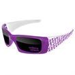 2-Tone Wrap Sunglasses w/ 1-color imprints - Quality PC Wrap sunglasses with dark UV400 impact resistant PC lenses.
