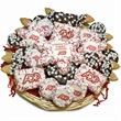 Custom Logo Snowflakes Holiday Cookie Basket - 36 PC Basket of chocolate dipped & decorated cookies