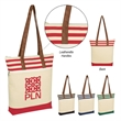 """Chelsea Tote Bag - 12 oz. cotton canvas Chelsea tote bag with a zippered main compartment, laminated interior, and 13"""" leather look handles."""