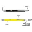 Multi-Function Pen - Multi-function pen with a ruler, stylus, built-in level, and multiple screwdriver bits.