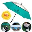 "The Vented UV Golf/Beach/Event Umbrella - Manual opening beach/golf umbrella with 62"" arc, fiberglass construction and UV protection properties."