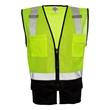 "ML Kishigo Class 2 Black Bottom Vest - Lime vest with 2"" wide silver reflective material. Blank."