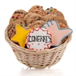 Congratulations Cookie Gift Basket- 12pc - Baskets packed with our classic cookies and 3 of our famous hand-iced sugar cookies.