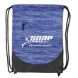 Trail Blazer Drawstring Backpack - Polyester drawstring backpack with water ripple design, reinforced bottom corners, metal grommets and front zipper compartment.