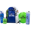 Fun in the Sun Kit - Fun in the Sun kit with towels, sunglasses, a flying disc, sunscreen, can holder, and fusion sports bottle in a drawstring bag.