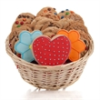 Daisies & Hearts Cookie Gift Basket - Baskets packed with our classic cookies and 3 of our famous hand-iced sugar cookies.