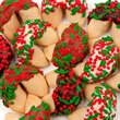 Holly Berry Gourmet Fortune Cookies - Classic size fortune cookie with holly and berries confetti.