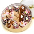 Wedding Wheel of Fortunes - Wedding decorated fortune cookies in round container.