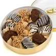 Classic Wheel of Fortunes - Golden rimmed acetate round tin filled with a dozen of gourmet fortune cookies.