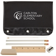 "Varsity School Kit - Zippered pouch with reinforced metal holes, two black pencils, stick pen, jumbo eraser, 6"" wood ruler and pencil sharpener."