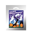 "Halloween Plastic Die Cut/Silver - Ghosts with Pumpkins - Halloween Stock Design Silver Reflective Plastic Die Cut Bag - Ghosts with Pumpkins (12""x15"") - Flexo Ink"