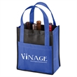"""Toscana Six Bottle Non-Woven Wine Tote-Closeout - 6"""" x 10"""" x 11"""" non-woven wine bottle tote bag with six internal sleeves, two-tone design, front pocket and 16"""" handles."""