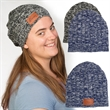 Leeman™ Heathered Knit Beanie - Heathered acrylic blend  knit beanie with polyurethane faux leather patch