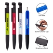 Multiplicity 8-in-1 Multi-Function Pen - 8-in-1 pen with capacitive stylus tip, rulers, smartphone stand, screen cleaner, twist-action ballpoint and screwdrivers.