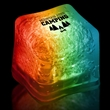 """Rainbow Light Up Premium LitedIce Brand Ice Cube - 1 3/8"""" frosted plastic premium ice cube with built-in multi-colored LED lights that have 3 light settings"""