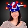 USA Jester LED Light Up Hat - USA-themed novelty jester hat with LED lighting.