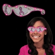 Pink Ribbon Pink LED Billboard Sunglasses - Breast Cancer awareness billboard sunglasses with LED lights and pink ribbons on both lenses.