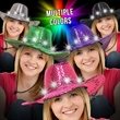 Sequin LED Cowboy Hats-Imprinted Bands Available - Cowboy hat with sequins, LED lights, three light functions and an imprintable band.