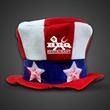 Flashing LED Uncle Sam Hat - Imprinted - Uncle Sam patriotic top hat with flashing LED lights.
