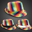 Rainbow Sequin LED Fedora with Imprinted Band - Rainbow colored fedora hat with sequins, bright white LED lights and an imprintable black or white elastic band.