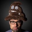 LED Poop Emojicon Hat - Pop culture inspired poop emojicon hat with 10 bright white LED lights