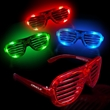 Light-Up Glow LED Slotted Glasses - Plastic LED light-up slotted glasses.