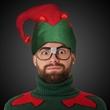 Light Up Elf Hat - Light-up elf hat made of red and green vinyl.