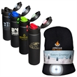 """LED Beanie and 16 oz. Legacy Black Vacuum Bottle Gift Set - LED Beanie and 16 oz. Legacy Black Vacuum Bottle Gift Set. Hand wash only. Bottle: 9.75""""h x 2.75""""dia.; Beanie: One Size Fits Most"""