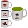 14 oz. Glossy Jamocha Ceramic Mug - 14 oz. (414 mL) glossy ceramic stoneware mug with white exterior and color interior.
