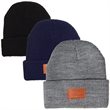 Leeman™ Cuffed Rib Knit Beanie - Our exclusive product. 100% Acrylic rib knit beanie with PU faux leather patch on front cuff.