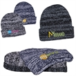 Heathered/Marbled Knit Beanie with Cuff - 100% Acrylic rib knit beanie with cuff featuring heathered/marbled thread.