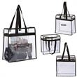All Access Tote - Clear 0.3mm PVC tote bag with non-woven trim and open main compartment.