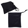 Drawstring Sunglasses Pouch - Black polyester pouch for folding sunglasses.