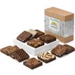 Custom Holiday Dozen - 12 Gourmet Brownies in gift box wrapped with a custom holiday gift band with your logo