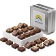 Custom Keepsake Tin Morsel 24 - Custom keepsake tin with 24 sweet brownies morsels.