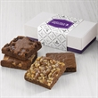 4-Brownie Favor - Four brownies in a elegant purple box finished with a silver bow.