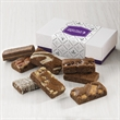 8-Sprite Favor - Purple and white gift box filled with 8 snack-sized brownies.