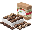 Custom Christmas Morsel 24 - Bite-sized brownies in a box with Merry Christmas and personalized logo gift band.