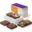 Congratulations Half Dozen - Half dozen Belgian dark chocolate brownies in purple gift box with a congratulations band.
