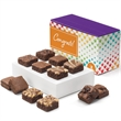 Congratulations Morsel Dozen - Twelve bite-sized brownies in purple gift box with a congratulations band