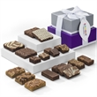 Custom Fairytale 2-Box tower - Purple and silver tower filled with brownies and blondies and your logo on the hang tag.