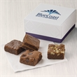 Custom 4-Morsel Favor - Bite-sized brownies are tucked inside a gift favor with your full-color logo on the lid of the box.