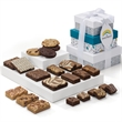 Custom Holiday 3-Box Tower - Belgian chocolate brownies, cookies and bars in a tower with your logo on the hang tag.