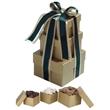 3 Stack Gold Gift Tower - Milk, Dark & White Chocolate - 3 piece gold tower filled with gourmet milk, dark and white chocolate treats.