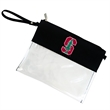 CLEAR  STADIUM ZIP POUCH - Clear security zippered pouch easily connects to a messenger bag to keep your hands free.