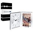 """Jadis I Desk Clock & Photo Frame & Packaging - 1.12"""" x 7"""" x 10"""" Jadis I desk clock/photo frame; includes hinged 4"""" x 6"""" photo frame and 4"""" x 6"""" analog clock with roman numerals."""