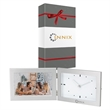 """Antimo Clock & Photo Frame & Packaging - 1.62"""" x 4.88"""" x 6.88"""" Antimo clock and photo frame with brushed aluminum finish; includes 6"""" x 4"""" photo frame and analog clock."""