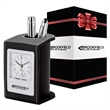"""Alba Desk Clock & Pen Cup & Packaging - 3.25"""" x 4.25"""" x 2.75"""" Alba leatherette desk clock and pen cup; includes analog alarm clock with 1 3/4"""" face and quartz movement."""